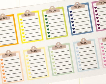 Clipboard To Do List  Planner Stickers - 12 Count