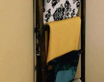 Rustic blanket ladder / Shabby Chic / Farmhouse Decor/ Fixer Upper inspired / custom fall decor / Organization / Living room or bedroom