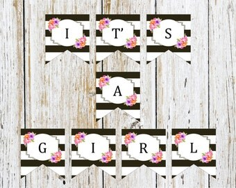 Baby Shower It's a Girl Banner Printable, Black-White Floral