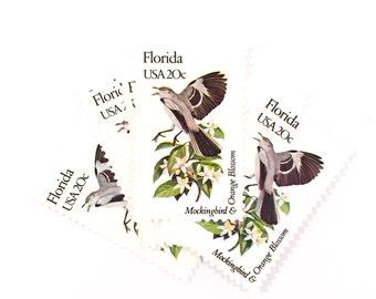5 x Florida USA 20c Mockingbird & Orange Blossom - State Birds UNused 1982 Vintage postage stamps Scott 1961 - invites, mail art, scrapbook