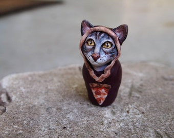 Hand sculpted and painted matriyoshcat