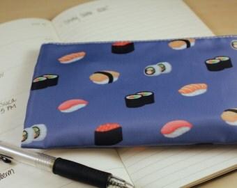 Blue Sushi Cosmetic Bag, Makeup Bag, Zipper Pouch