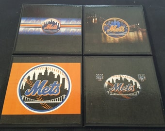 NY Mets Ceramic Tile Drink Coasters / NY Mets Coaster Set