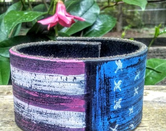 Hand painted American Flag Cuff Bracelet