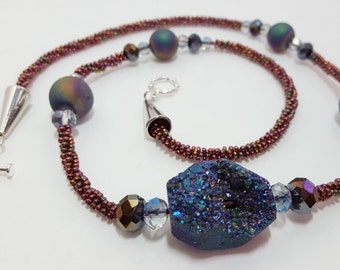 """Awesome """"Geode"""" Look Beaded Necklace"""