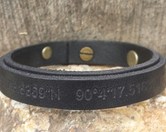 FREE SHIPPING-Men Strap Bracelet,GPS Leather Bracelet,Custom Bracelet,Men Bracelet,Men Leather Bracelet,Personalized Men Bracelet,