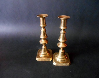 Antique English Candlesticks Victorian Design - Rustic Copper Candle Holders with Candle Eject System - England 2nd Half Of 19th Century