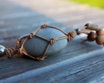 Pendant necklace-roller and leather - Beach necklace - necklace-hippie necklace - bohemian necklace