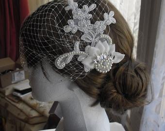 Birdcage veil, Bridal Veil with Vintage Lace, Vintage Style Bridal Veil.