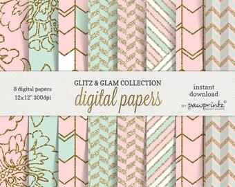 Pink Mint Digital Paper: Coral Blush Pink Mint Green Glitter Gold/Floral,Chevron,Geometric,Stripes,Shabby Chic/Sticker,Invitation,Pattern