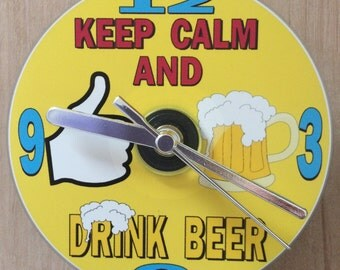Keep Calm and Drink Beer, Cartoon Beer Glass, Thumbs Up, CD Clock (Can be personalised)
