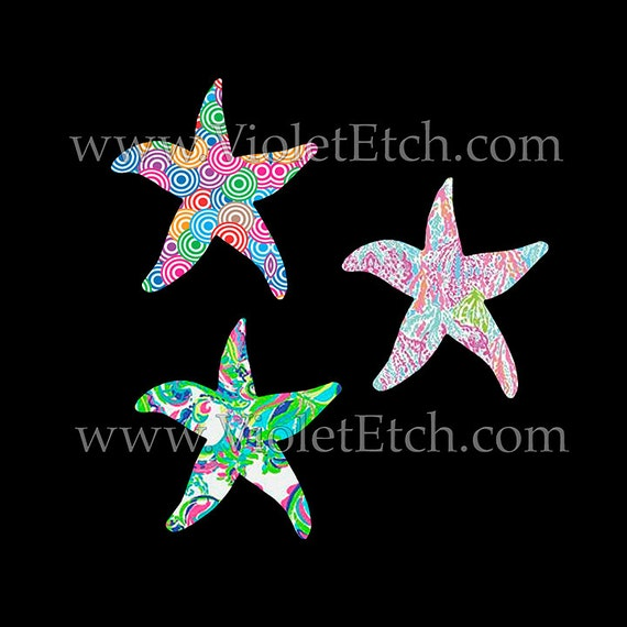 Starfish Decal-Yeti Decal-Lilly Inspired Decal-Car Window Decal-Laptop Decal-Summer Decal-Beach Decal