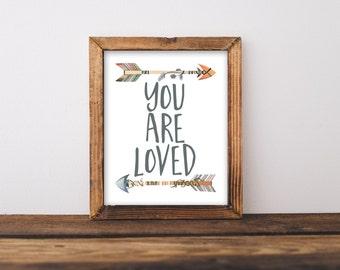 Tribal Nursery printable art, You are loved printable quote, Tribal Nursery wall art, Nursery Art, Arrow art, arrow decor, tribal decor
