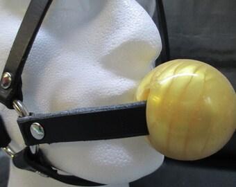 LIMITED EDITION Leather Locking Gold Ball (medium ball) Head Harness Gag
