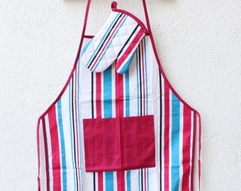 Cotton Apron,chef Apron baby Apron,  stripe Kitchen Apron, baby gift,Country Apron Full Apron Hostess Gift Ready to Ship gift for her