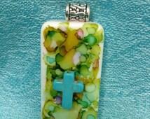hand painted domino pendant, cross pendant, repurposed game piece, fun statement piece, turquoise  cross, customized necklace, domino art