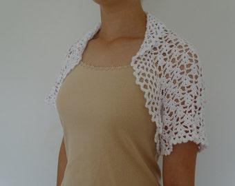 Crochet Bolero White Handmade Ladies 100% Cotton