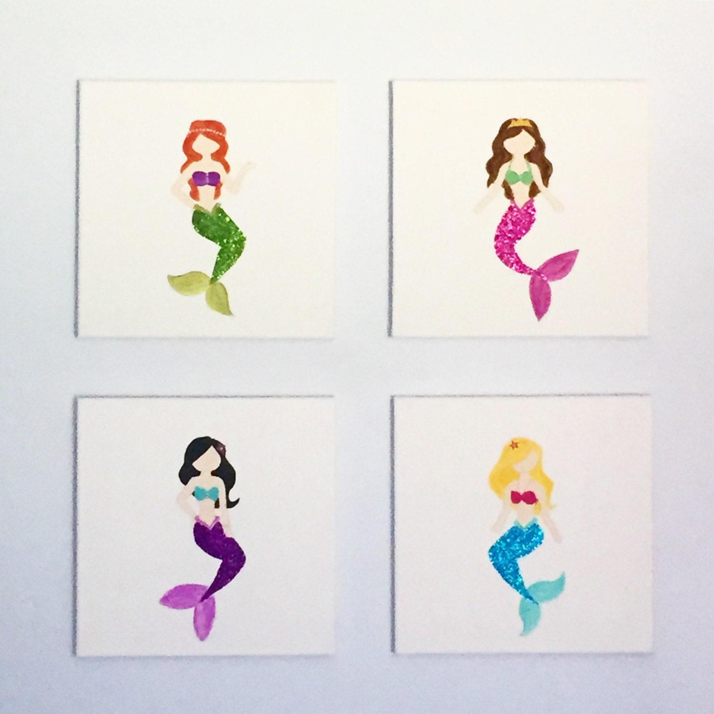 Mermaid Nirsery Accent Wall: Mermaid Set Of 4 Mermaid Decor Mermaid Nursery Mermaid Wall