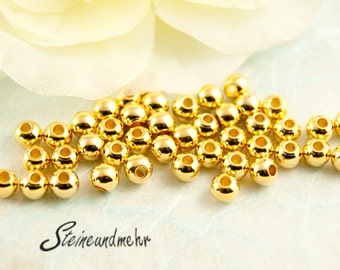 25 x beads 4mm small yellow gold art. 1279
