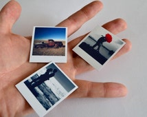 Tiny polaroid style custom photo magnets made with your own pictures (4x4.5cm)