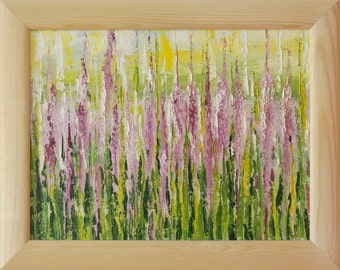 "Oil painting ""Lupins"", framed, ready to hang"