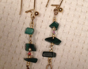 Handmade Genuine Green Malachite Stone Crystal Quartz Golden Drop Dangle Earrings jewelry