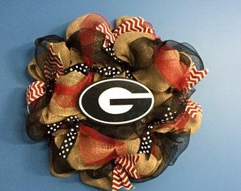 University of Georgia Wreath, UGA Wreath, Bulldog Wreath, Georgia Bulldog Wreath, Georgia Bulldog Front Door Decor, Handmade Wreath