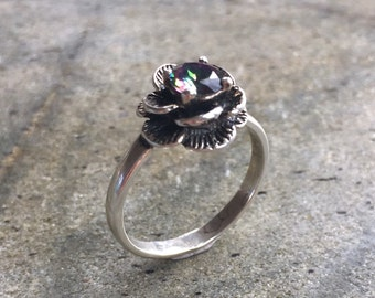 Flower Ring, Mystic Topaz Ring, Natural Topaz, Vintage Flower Ring, Topaz Flower Ring, December Birthstone, Solid Silver Ring, Silver Flower