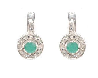 Emerald Earrings, Natural Emerald, Vintage Emerald Earrings, Antique Earrings, Vintage Earrings, Green Vintage Earrings, Sterling Silver