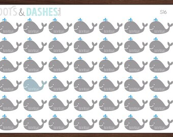 S16- Gray Whale ,Bath Night Reminder, whale Stickers, icon stickers, bath icon, bath night (42 Matte Planner Stickers)