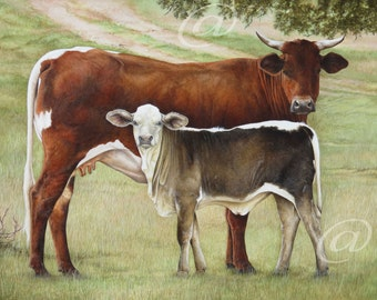 original oil painting, Texas, cattle, Lone Star, western, animal, large, canvas, Jan Brown