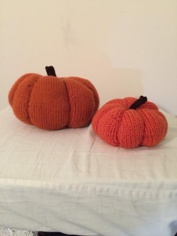 Hand knit pumpkins ,set of  2 pumpkins