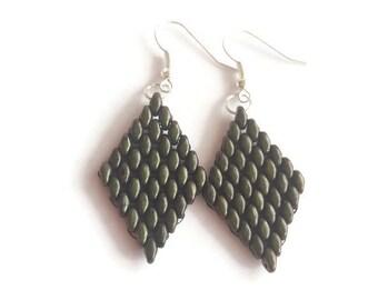 Earrings dark olive beaded - Handmade earrings