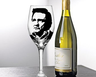 Johnny Cash, Painted Wine Glasses, Painted Wine Glass, Hand Painted Wine Glasses, Painted Glasses, White Wine, Red Wine, Stemless Glasses