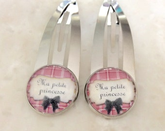 Silver hair clips / set of 2 / Ma petite princesse