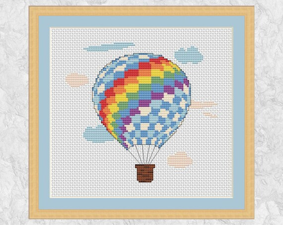 Hot Air Balloon Cross Stitch Pattern Rainbow Counted Cross
