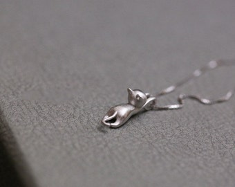 Cat Necklace - Kitty Necklace - Sterling Silver Cat Jewelry - Sterling Silver Necklace