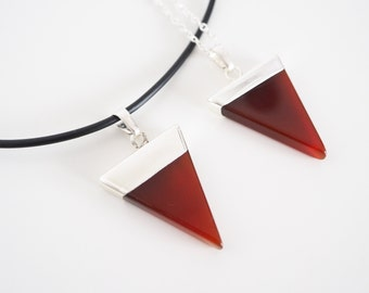 Red Agate Triangle Necklace