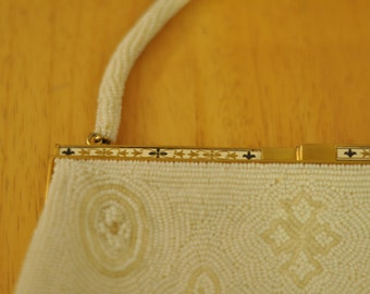 1950's Handmade Walborg White and Ivory Beaded Purse