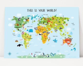 Childrens World Map Poster Unique Baby Gifts First Birthday