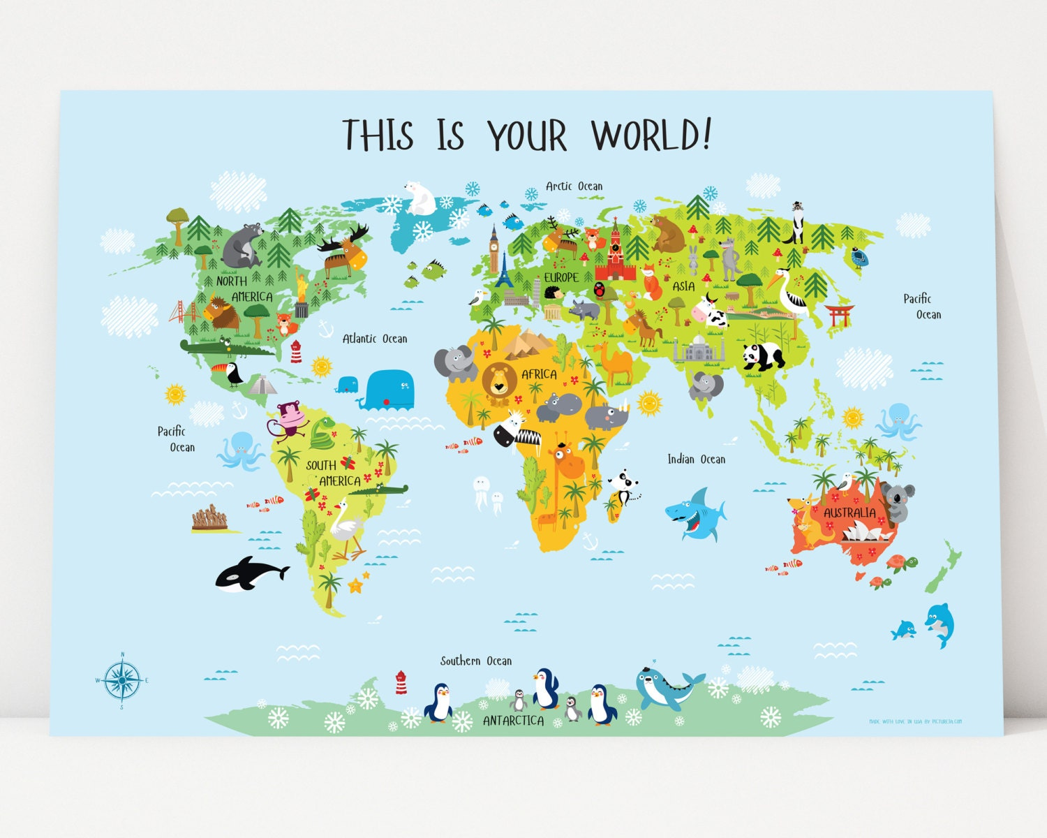 World Map For Kids Instant Download Nursery Decor High - World map in english language