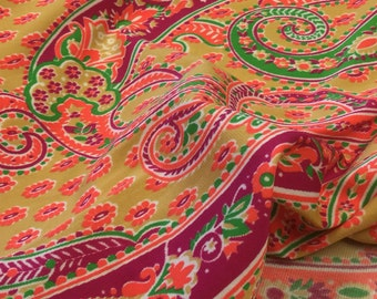 60s Knit Fabric. Vintage Neon Fabric. Daisy Fabric. Neon Paisley Fabric. 60s Psycadelic Fabric. Funky Fabric. Neon Fabric. Vintage Paisl