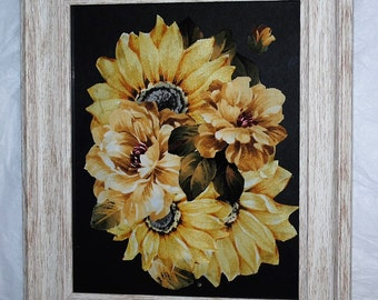 Sunflower Burst Fabric Flower Medley 8 x 10 Art Wall Decor