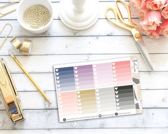 Ombre Heart Checklists #2    8 Planner Stickers