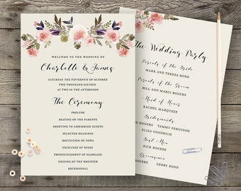 Floral Wedding Program Printable Boho Chic Wedding Order of Service Bohemian Wedding Program Modern Typography Spring / Summer Wedding