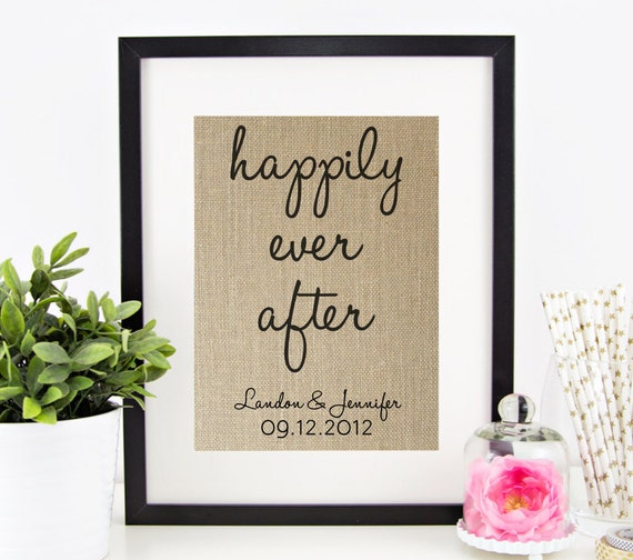 Happily Ever After Personalized Burlap Print By