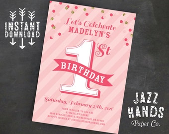 Pink and Gold First Birthday Invitation Template | DIY Printable | Gold | Confetti | Pink and Gold Birthday | First Birthday