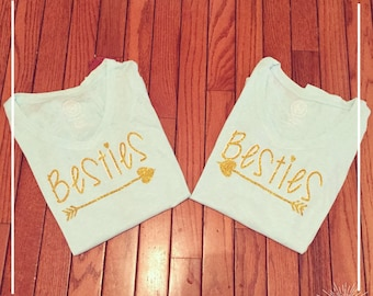 "Adult ""Besties""  shirts in gold glitter"