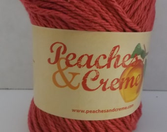 Peaches & Creme Cotton Yarn ~ Colour Rouge Red ~ #4 Medium Worsted ~