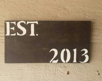 Est Wooden Hand Painted Sign Established Family Sign